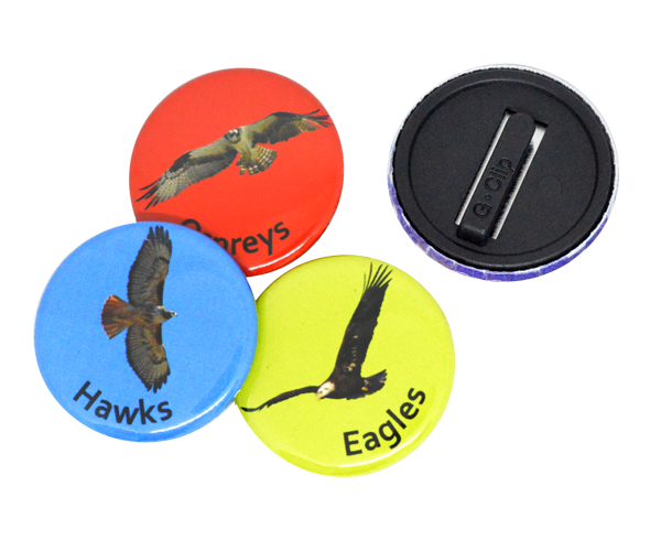 Full colour button badges with a plastic child safe clip