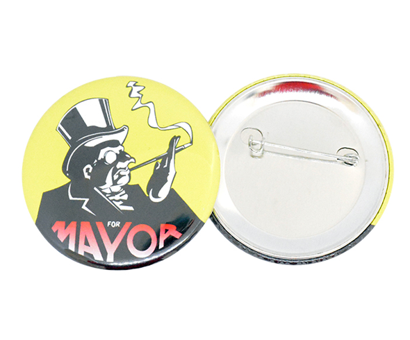 58mm button badge with a safety pin