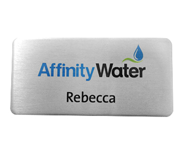 Brushed silver name badges