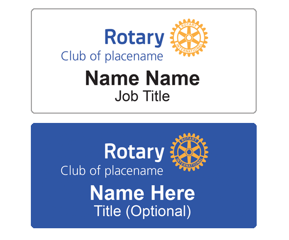 Rotary name badge layout
