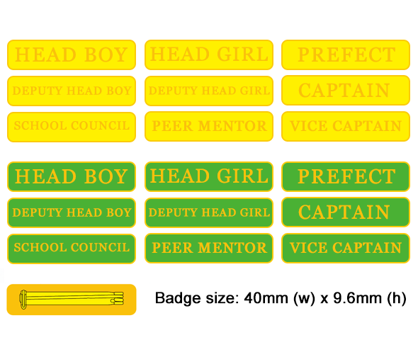 Range of bar badges in green or yellow with a brooch pin