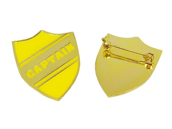 Yellow Shield Captain badge gold plated