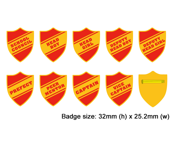 Shield school badges, red enamel gold plated