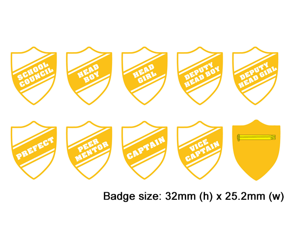 Shield school badges, White enamel gold plated