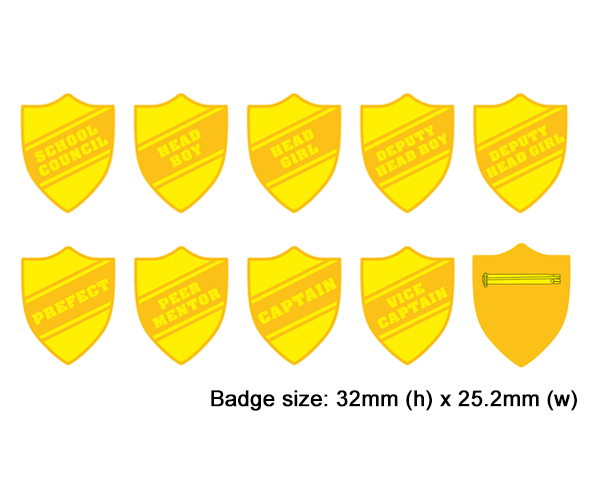 Shield school badges, Yellow enamel gold plated