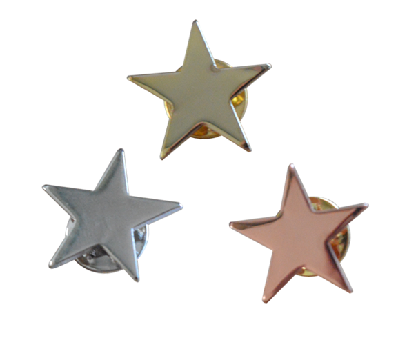 Star badges with a butterfly clutch pin